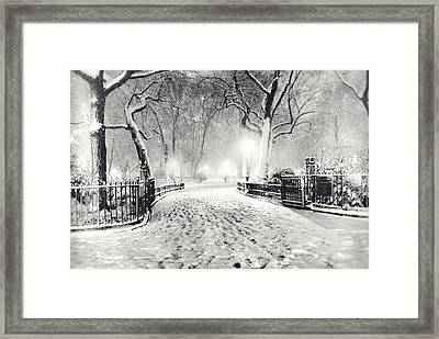 New York Winter Landscape - Madison Square Park Snow Framed Print by Vivienne Gucwa