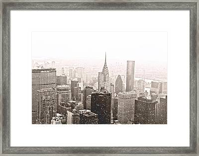 New York Winter - Skyline In The Snow Framed Print by Vivienne Gucwa