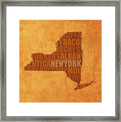 New York Word Art State Map On Canvas Framed Print by Design Turnpike