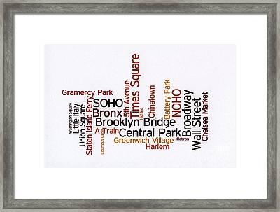 New York Wordcloud Framed Print