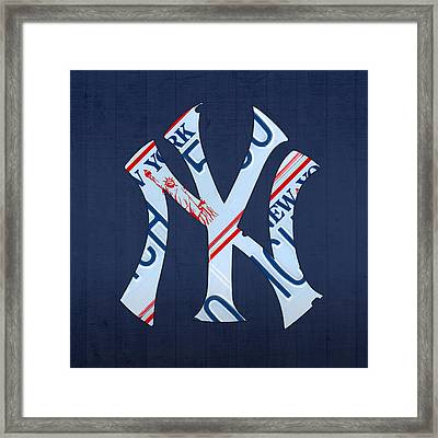 New York Yankees Baseball Team Vintage Logo Recycled Ny License Plate Art Framed Print by Design Turnpike