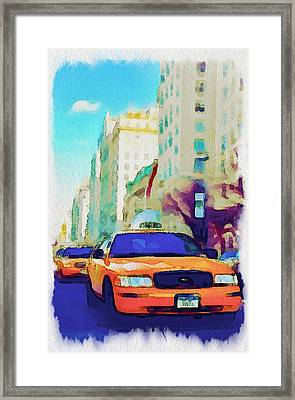 New York Yellow Cabs Framed Print by Yury Malkov