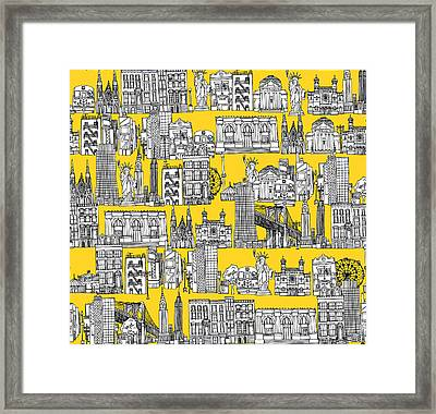 New York Yellow Framed Print by Sharon Turner