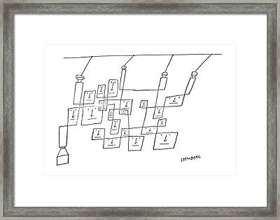 New Yorker April 12th, 1958 Framed Print by Saul Steinberg