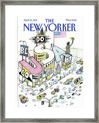 New Yorker April 25th, 1994 Framed Print by Saul Steinberg