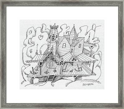 New Yorker August 16th, 1958 Framed Print by Saul Steinberg