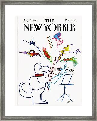 New Yorker August 23rd, 1982 Framed Print by Saul Steinberg