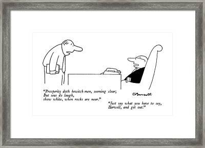 New Yorker August 4th, 1986 Framed Print by Charles Barsotti