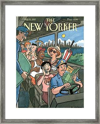 New Yorker Characters Board A City Bus Framed Print by R. Sikorya