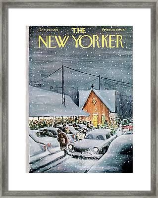 New Yorker December 19th, 1959 Framed Print by Charles Saxon