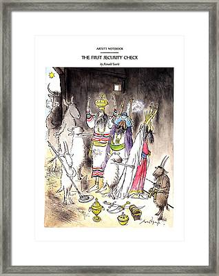 New Yorker December 21st, 1992 Framed Print by Ronald Searle