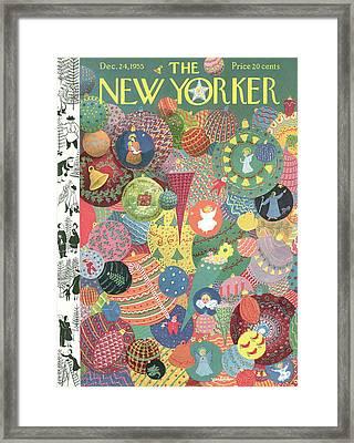 New Yorker December 24th, 1955 Framed Print by Christina Malman