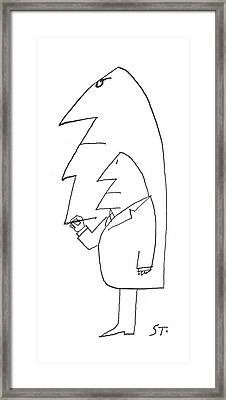 New Yorker February 16th, 1963 Framed Print by Saul Steinberg
