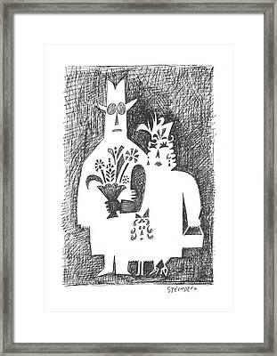 New Yorker February 22nd, 1958 Framed Print by Saul Steinberg