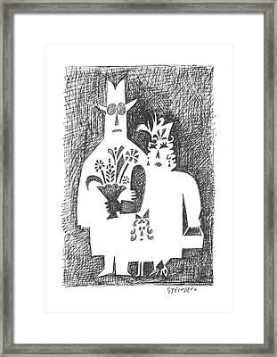 New Yorker February 22nd, 1958 Framed Print by Saul Steinberg