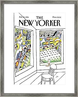 New Yorker February 28th, 1994 Framed Print by Saul Steinberg