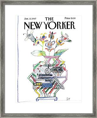 New Yorker January 12th, 1987 Framed Print by Saul Steinberg