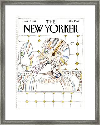 New Yorker January 12th, 1998 Framed Print by Saul Steinberg