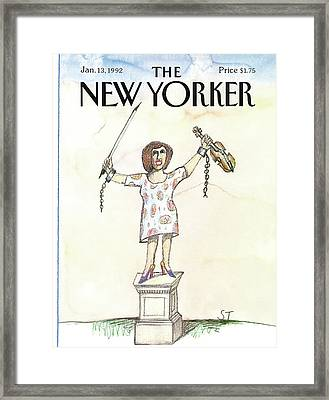 New Yorker January 13th, 1992 Framed Print by Saul Steinberg