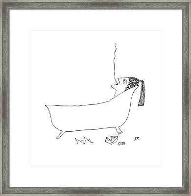 New Yorker January 14th, 1956 Framed Print by Saul Steinberg