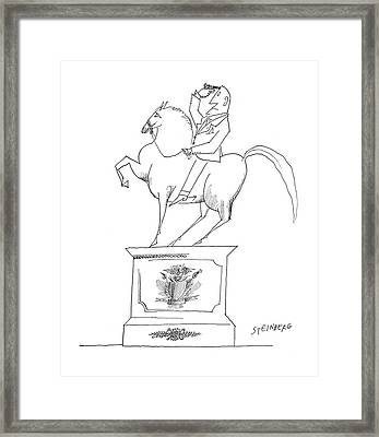 New Yorker January 14th, 1961 Framed Print by Saul Steinberg