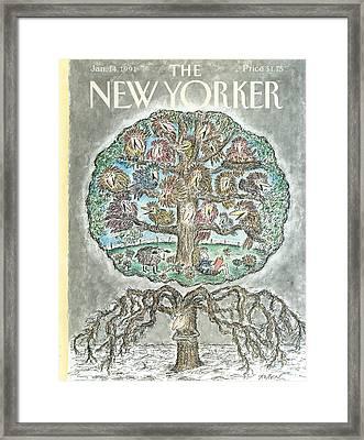 New Yorker January 14th, 1991 Framed Print by Edward Koren
