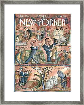 New Yorker January 18th, 1999 Framed Print by Edward Sorel
