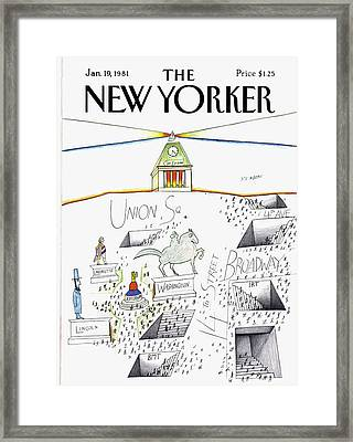 New Yorker January 19th, 1981 Framed Print by Saul Steinberg