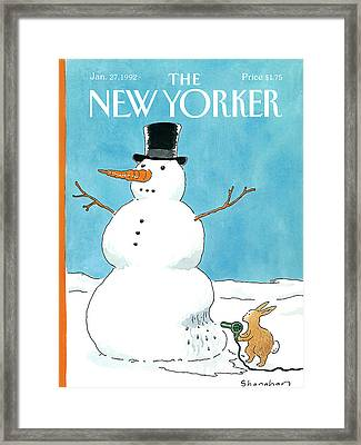 New Yorker January 27th, 1992 Framed Print by Danny Shanahan