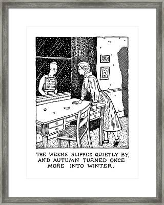 New Yorker January 27th, 1992 Framed Print by Glen Baxter