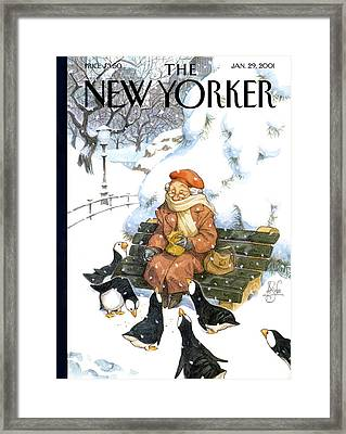 New Yorker January 29th, 2001 Framed Print by Peter de Seve