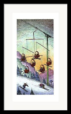 Chair Lift Drawings Framed Prints
