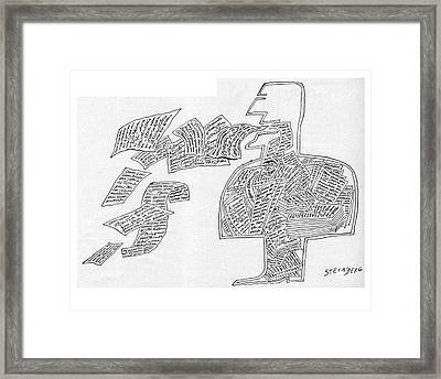 New Yorker January 7th, 1961 Framed Print by Saul Steinberg
