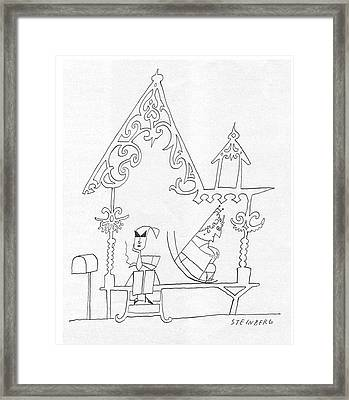 New Yorker July 12th, 1958 Framed Print by Saul Steinberg