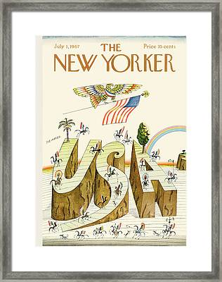 New Yorker July 1st, 1967 Framed Print by Saul Steinberg