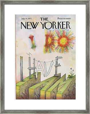 New Yorker July 31st, 1971 Framed Print by Saul Steinberg