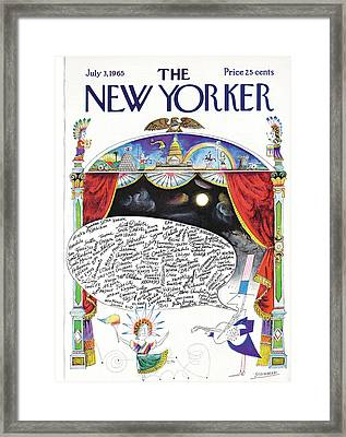 New Yorker July 3rd, 1965 Framed Print by Saul Steinberg