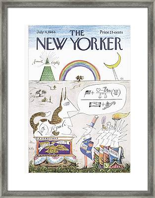 New Yorker July 4th, 1964 Framed Print by Saul Steinberg