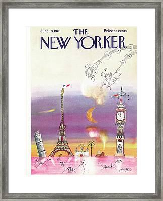New Yorker June 10th, 1961 Framed Print by Saul Steinberg