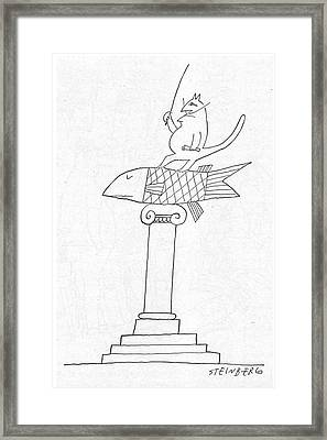 New Yorker June 14th, 1958 Framed Print by Saul Steinberg