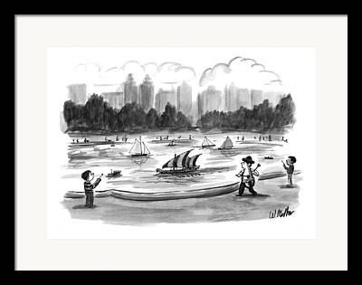Toy Boat Drawings Framed Prints