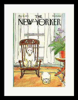 Dog Sitting In Chair Paintings Framed Prints