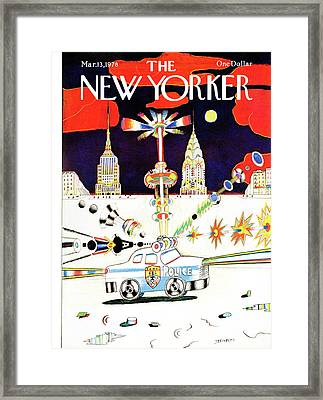 New Yorker March 13th, 1978 Framed Print by Saul Steinberg