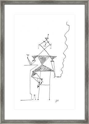 New Yorker March 16th, 1957 Framed Print by Saul Steinberg