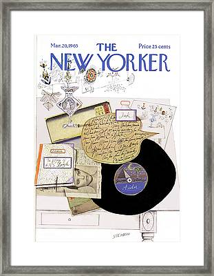 New Yorker March 20th, 1965 Framed Print by Saul Steinberg