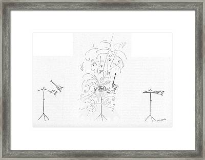 New Yorker March 24th, 1956 Framed Print by Saul Steinberg