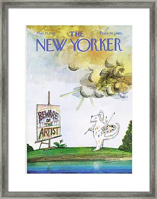 New Yorker March 27th, 1971 Framed Print by Saul Steinberg