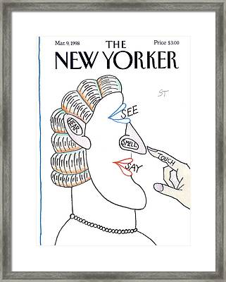 New Yorker March 9th, 1998 Framed Print by Saul Steinberg