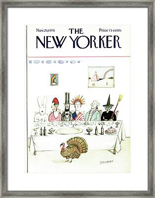 New Yorker November 29th, 1976 Framed Print by Saul Steinberg