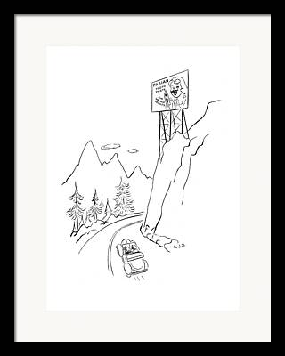 Mountain Road Drawings Framed Prints